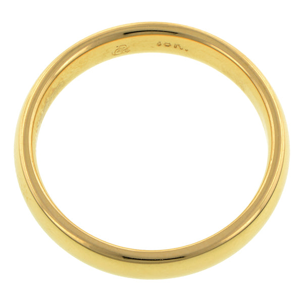 Contemporary ring: an 18k Yellow Gold Comfort Fit Wedding Band Ring, 4mm  sold by Doyle & Doyle vintage and antique jewelry boutique.