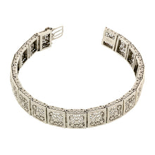Art Deco Filigree Link  Bracelet