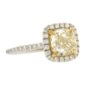 Fancy Yellow Engagement Ring. 2.01 Cushion:: Doyle & Doyle