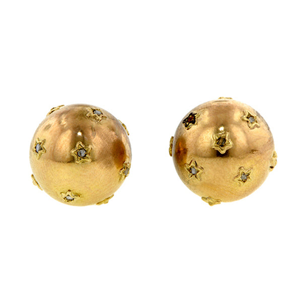 Vintage Rose Cut Diamond Star Ball Earrings