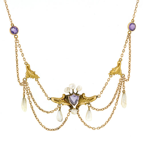 Art Nouveau  Amethyst & Pearl Festoon Necklace::Doyle & Doyle