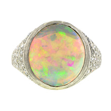 Art Deco Opal & Diamond Ring::