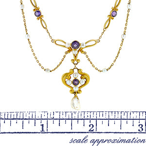 Art Nouveau Amethyst & Pearl Festoon Necklace