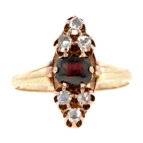 Victorian Garnet & Rose Cut Diamond Ring::Doyle & Doyle