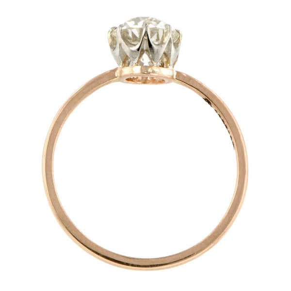Antique Solitaire Engagement Ring, Old Euro 1.04ct