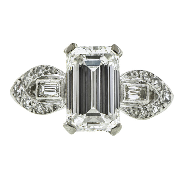 Art Deco Engagement Ring, Emerald Cut; 1.58ct., sold by Doyle & Doyle a vintage and antique jewelry store.
