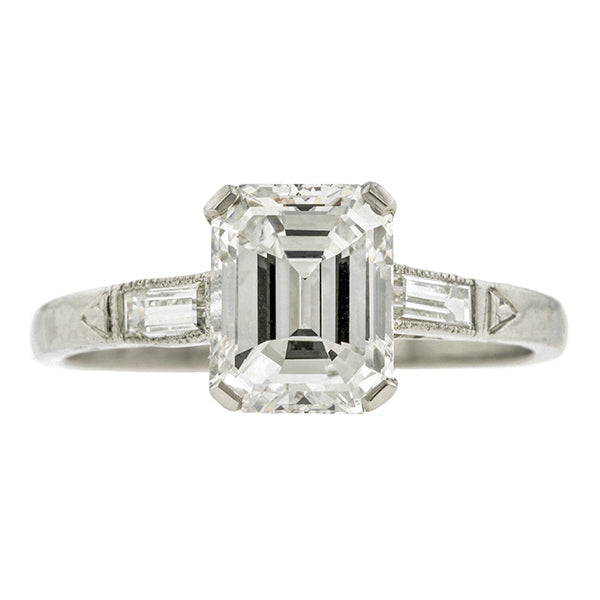 Art Deco Engagement Ring, Emerald Cut 1.70ct:: Doyle & Doyle