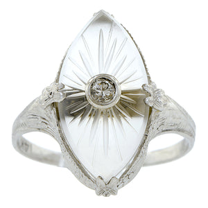 Art Deco Diamond & Rock Crystal Ring::Doyle & Doyle
