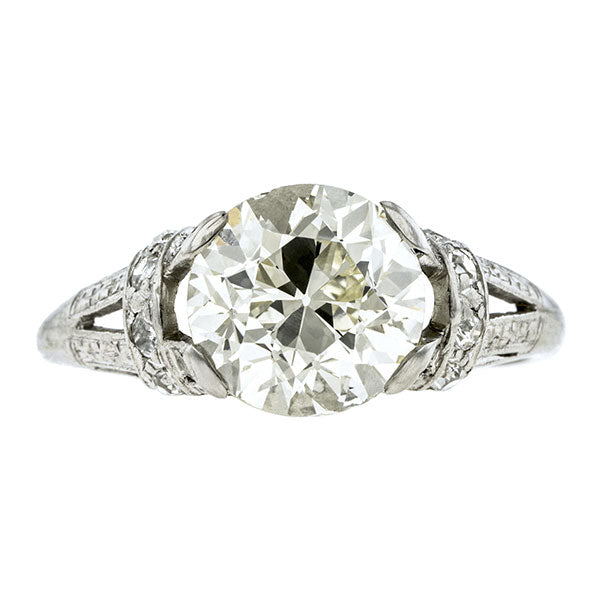 Art Deco Engagement Ring, Old European 3.41ct Doyle & Doyle