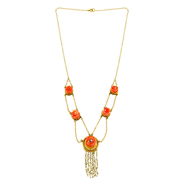Victorian Carved Coral, Diamond, & Freshwater Pearl Festoon Necklace::  Doyle & Doyle