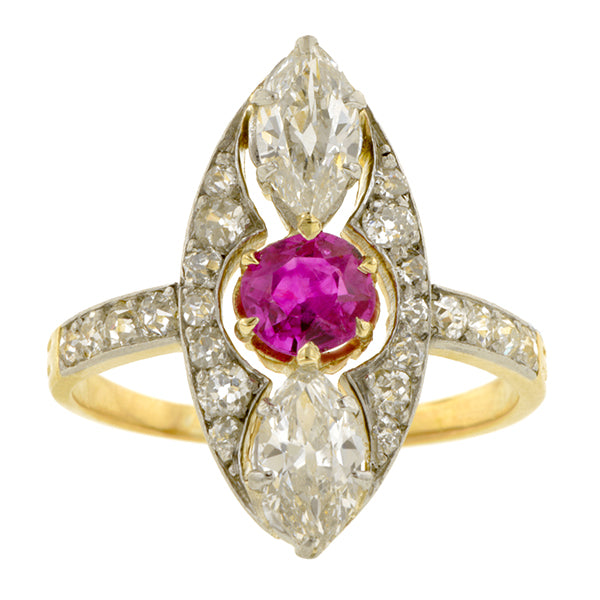 Edwardian Ruby & Marquise Diamond Ring