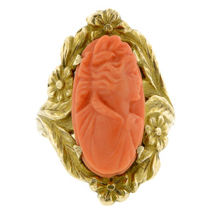 Art Deco Coral Cameo Ring Doyle & Doyle