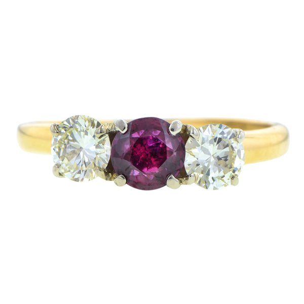 Vintage Ruby & Diamond Three Stone Ring