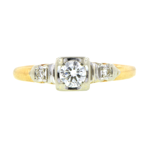 Vintage Diamond Engagement Ring, RBC 0.18ct::Doyle & Doyle