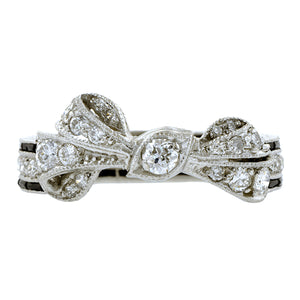 Vintage Diamond & Onyx Bow Ring:: Doyle & Doyle