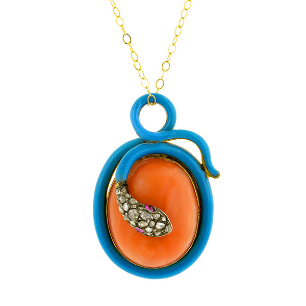 Coral, Rose Cut diamond & Enamel Snake Pendant