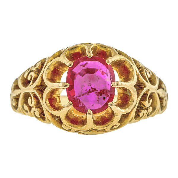 Victorian Natural Ruby (No Heat) Ring, 1.04ct::Doyle & Doyle