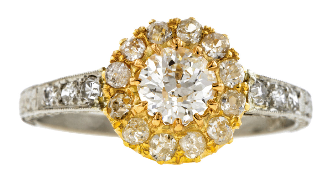 Estate Diamond Cluster Engagement Ring, Old Euro 0.53ct