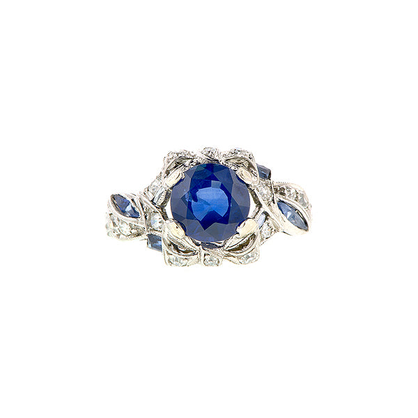 Art Deco Sapphire & Diamond Platinum Ring :: Doyle & Doyle