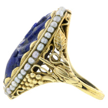 Arts & Crafts Carved Lapis & Pearl Ring:: Doyle& Doyle