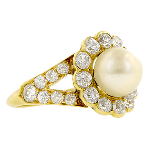 Victorian Natural Pearl & Diamond Ring