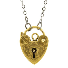 Antique Engraved Heart Padlock Pendant::Doyle & Doyle