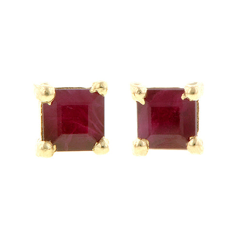 Square Ruby Stud Earrings