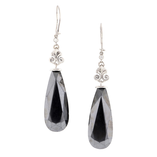 One of a Kind - Hematite & Diamond Drop Earrings :: Doyle & Doyle