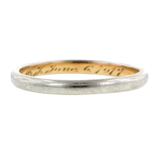 Edwardian ring: Platinum And Yellow Gold  Wedding Band sold by Doyle & Doyle vintage and antique jewelry boutique.