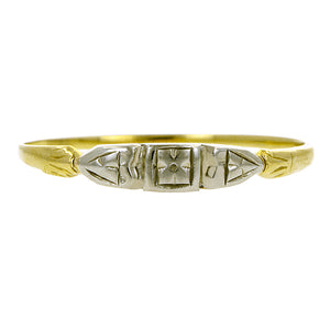 Vintage ring: a Yellow & White Gold Wedding Band sold by  Doyle & Doyle vintage and antique jewelry boutique.