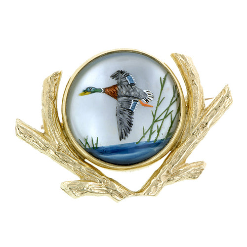 Vintage Reverse Painted Duck Crystal Pin::Doyle & Doyle