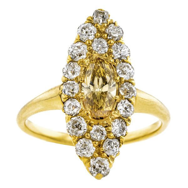 Antique Fancy Orangy-Yellow Diamond Ring, Oval 0.50ct:: Doyle & Doyle