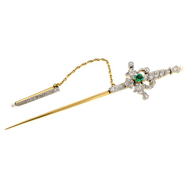 Victorian Diamond & Emerald Sword Pin