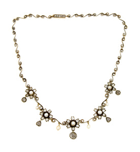 Antique Natural Pearl & Diamond Necklace