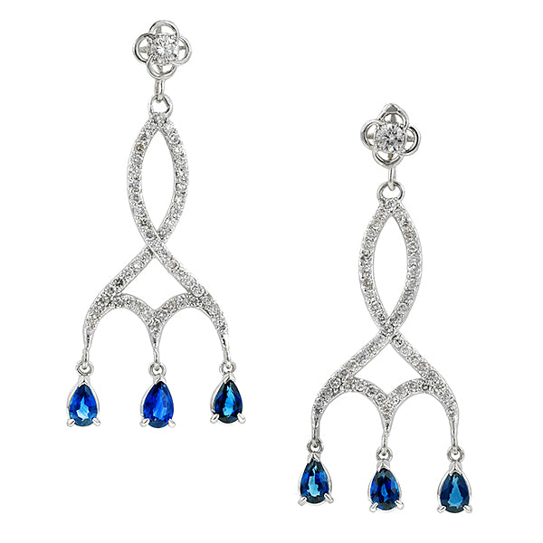 Entwined Diamond & Sapphire Girandole Drop Earrings- Heirloom by Doyle & Doyle