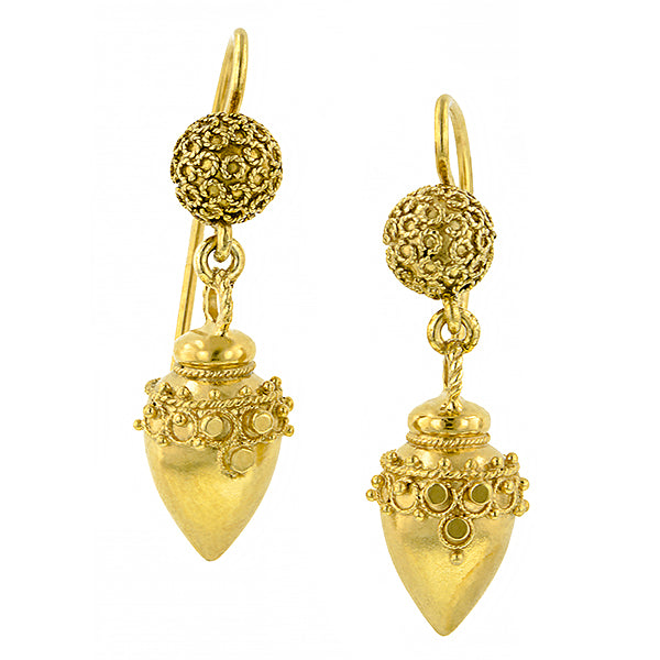 Victorian Etruscan Revival Drop Earrings:: Doyle & Doyle