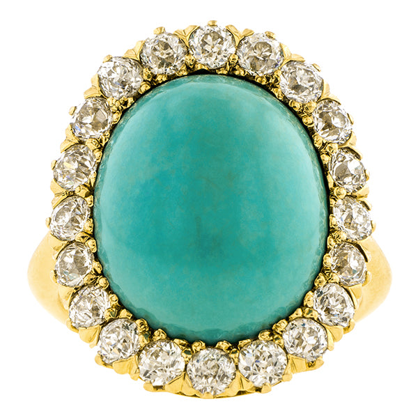 Antique Turquoise & Diamond Ring:: Doyle & Doyle