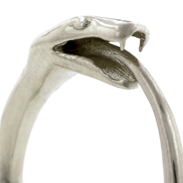 Contemporary ring: a Silver Ouroboros Snake Ring- Heirloom sold by Doyle & Doyle vintage and antique jewelry boutique.