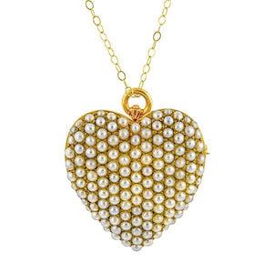 Victorian Pave Set Pearl Heart Pendant