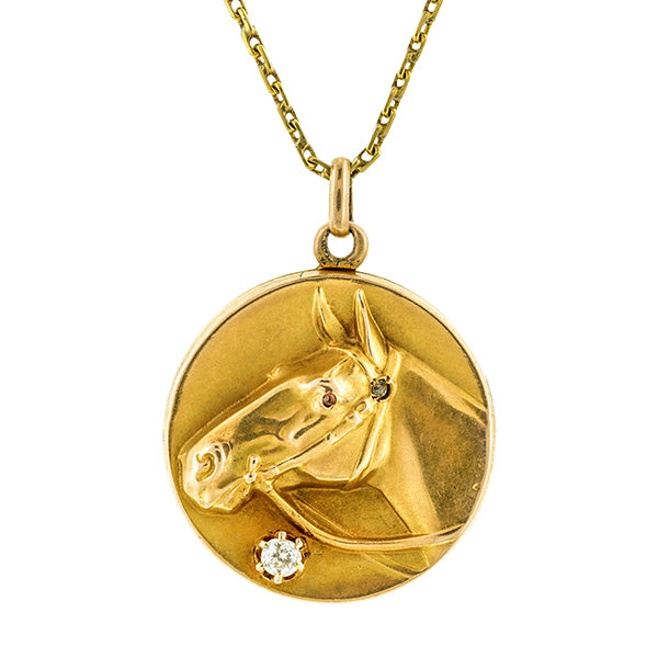 Art Deco Horse Head Diamond Locket::Doyle & Doyle