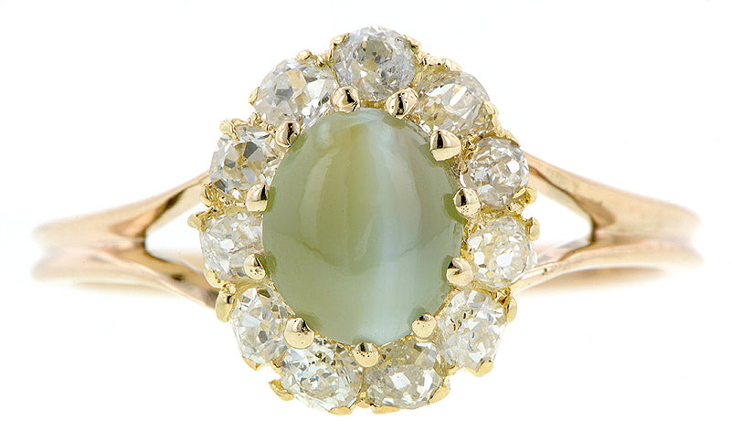 Cat's Eye Diamond Frame Ring