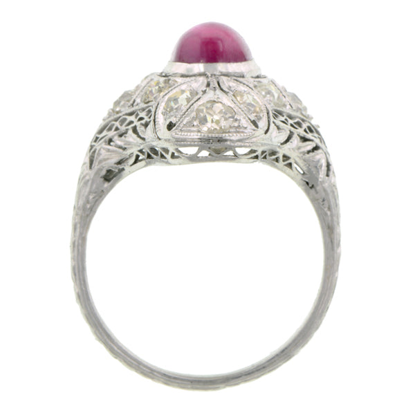 Art Deco Ruby & Diamond Dinner Ring:: Doyle & Doyle