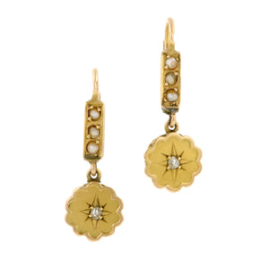 Antique Pearl & Diamond Drop Earrings:: Doyle & Doyle