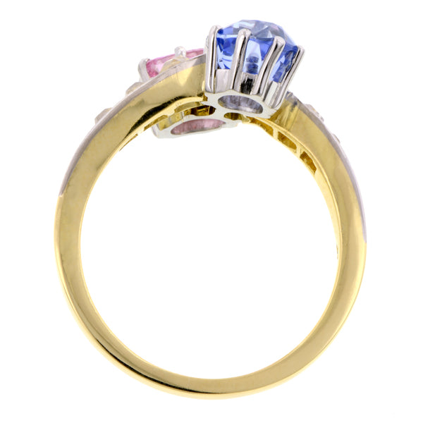 Antique Ring, a yellow gold ring with Pink & Blue Sapphires and Old Mine cut diamonds, sold by Doyle & Doyle an antique & vintage jewelry boutique.