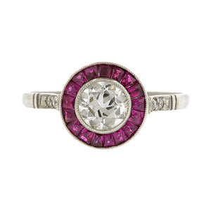 Diamond & Ruby Ring, Old Euro 0.58ct::Doyle & Doyle