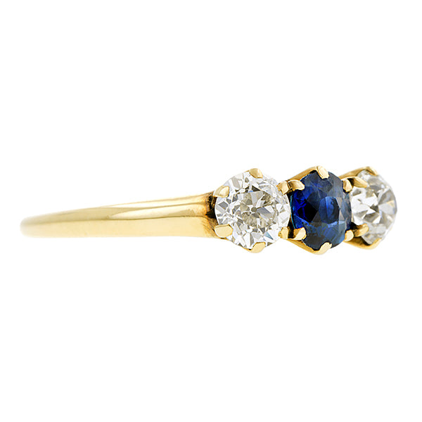 Edwardian Sapphire & Diamond Three Stone Ring :: Doyle & Doyle