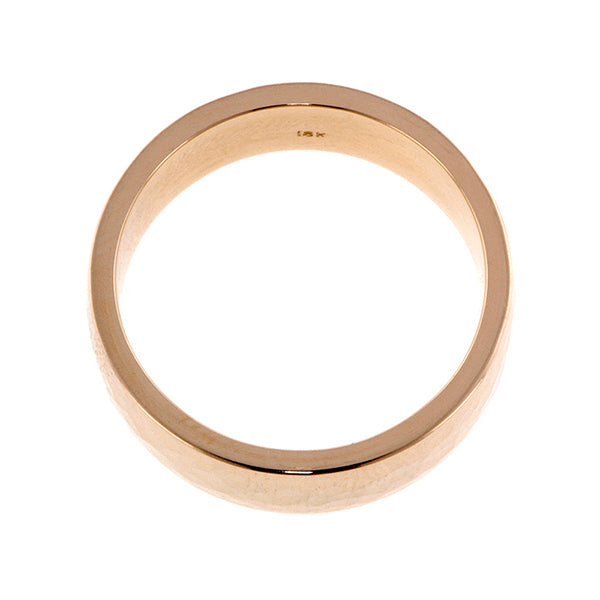 Contemporary ring; a Yellow Gold Hammered Ellipse Wedding Band 6mm sold by Doyle & Doyle vintage and antique jewelry boutique.