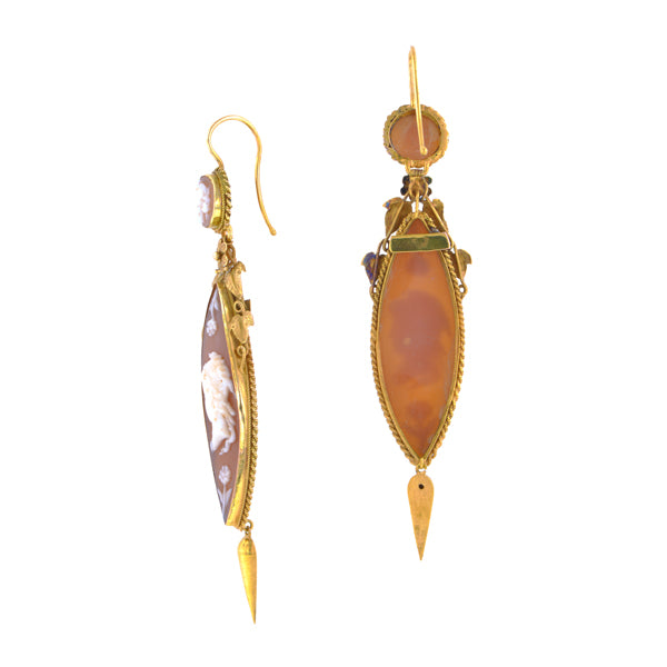 Georgian Shell Cameo Drop Earrings::Doyle & Doyle