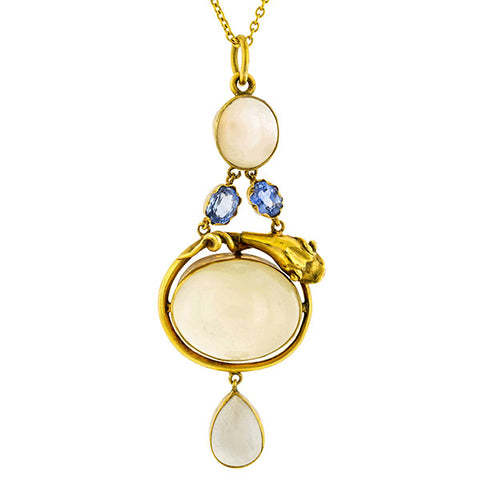 _Antique Cat's Eye Moonstone & Sapphire Snake Pendant