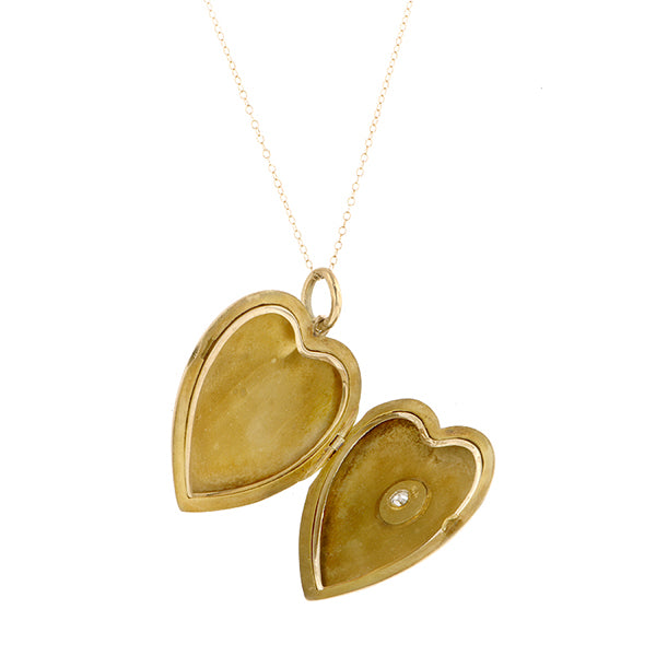 Vintage Diamond Heart Locket::Doyle & Doyle